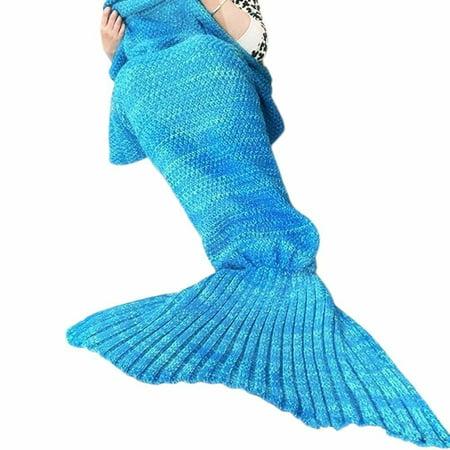 Juissie Warm and Soft Mermaid Tail Blanket,Sleeping Bag Sofa Bed Snuggle Mermaid (180*90cm) (Sky - Bee Tail