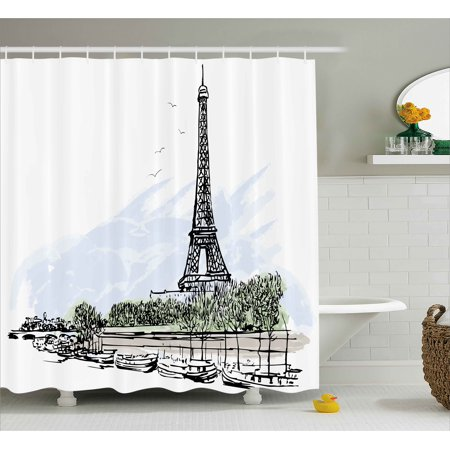 Paris Shower Curtain, Architecture Theme Illustration of Eiffel Tower Birds and Trees Pattern Print, Fabric Bathroom Set with Hooks, Black and White, by Ambesonne - Paris Theme Decor