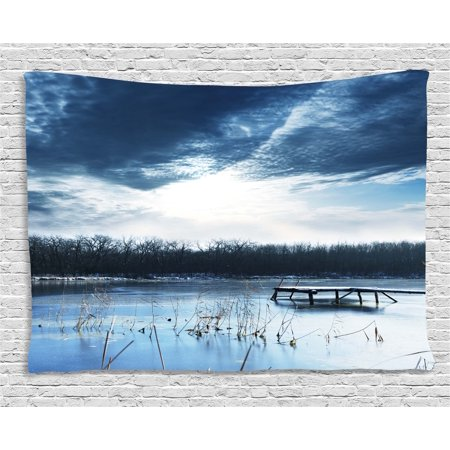 Winter Tapestry, Landscape Scenery of Mountain Lake with a Frozen Bay Sunset, Wall Hanging for Bedroom Living Room Dorm Decor, 80W X 60L Inches, Slate Blue White and Purple Grey, by Ambesonne
