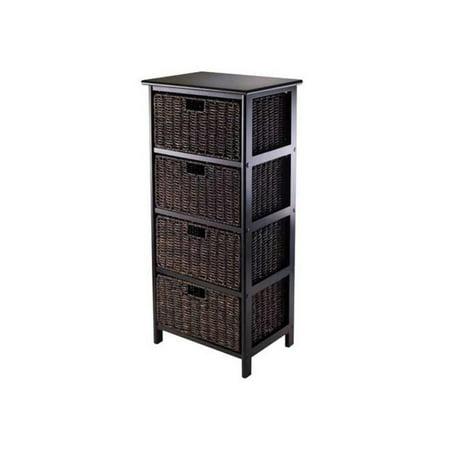 Winsome Wood Omaha Storage Rack with 4 Foldable Baskets, Dark Espresso/Chocolate](Halloween Stores Omaha)