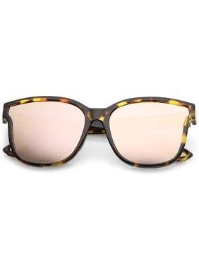 b994f0b02e8 Product Image Women s Horn Rim Metal Accent Mirrored Square Flat Lens Cat  Eye Sunglasses 55mm (Tortoise  . sunglass.la