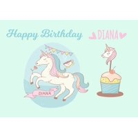 Unicorn Pony Princess Birthday Cake Personalized Cake Topper Icing Sugar Paper A4 Sheet Edible Frosting Photo 1/4