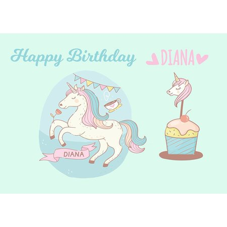 Unicorn Pony Princess Birthday Cake Personalized Topper Icing Sugar Paper A4 Sheet Edible Frosting Photo 1 4