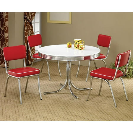 Coaster Cleveland 5 Piece Retro Round Dining Set in White and Red ()