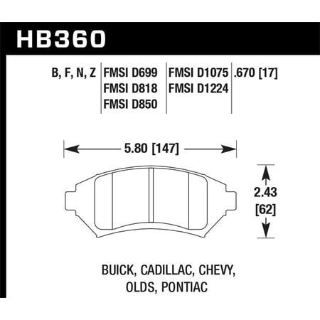 - Hawk Buick/ Cadillac/ Chevy/ Olds/ Pontiac Front Performance Ceramic Street Brake Pads