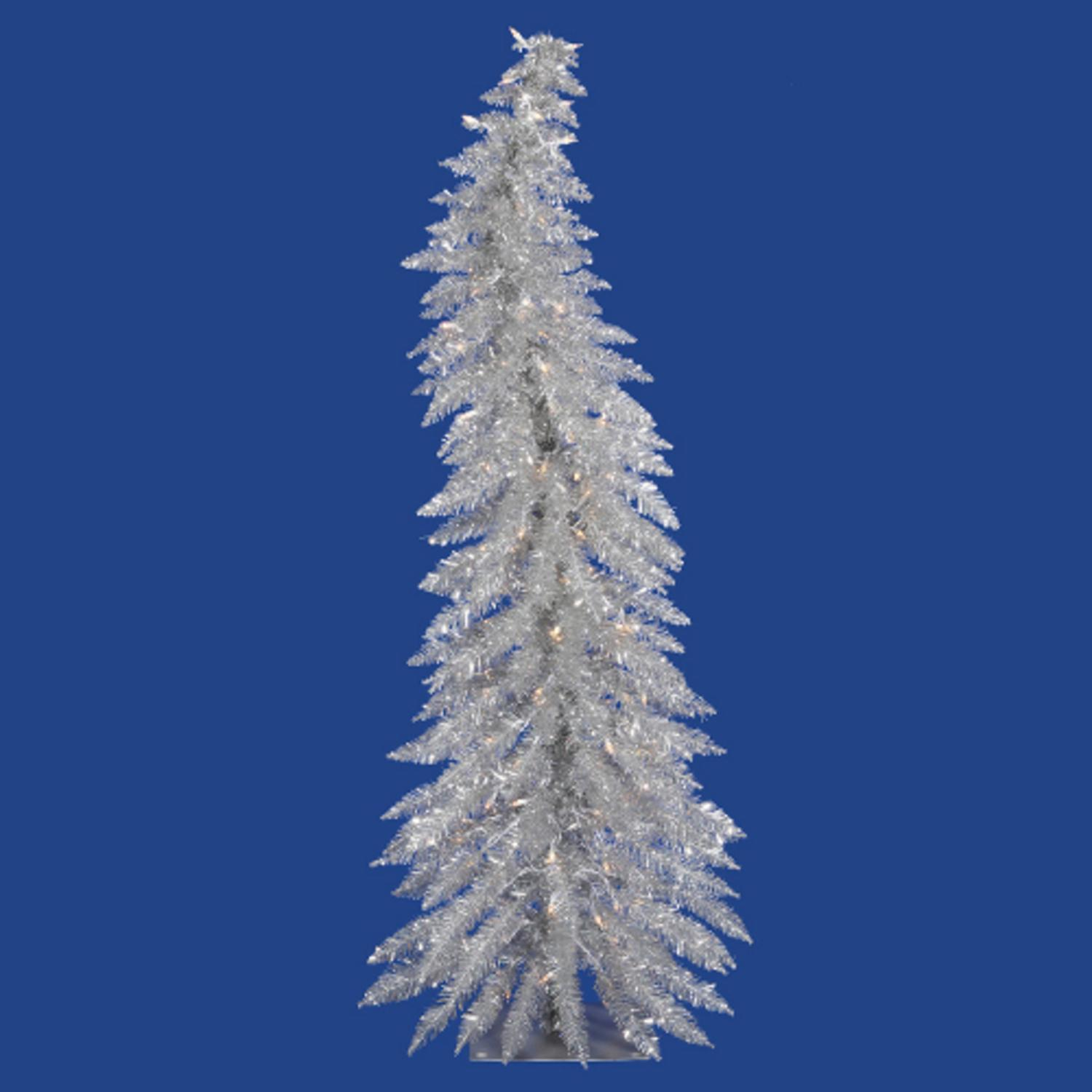 2.5' Pre-Lit Whimsical Silver Artificial Tinsel Christmas Tree - Clear Lights