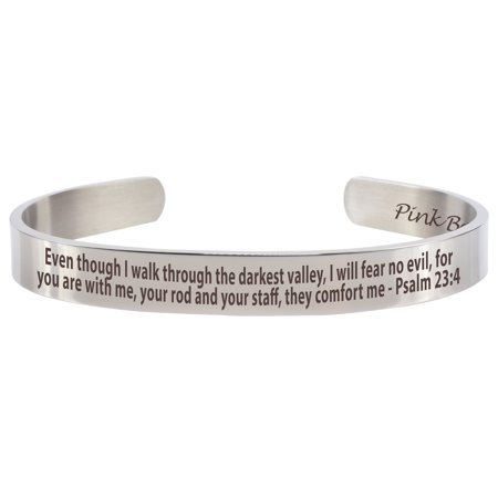 Pink Box 8MM Solid Stainless Steel Holy Scripture Cuffs - Psalm 23:4