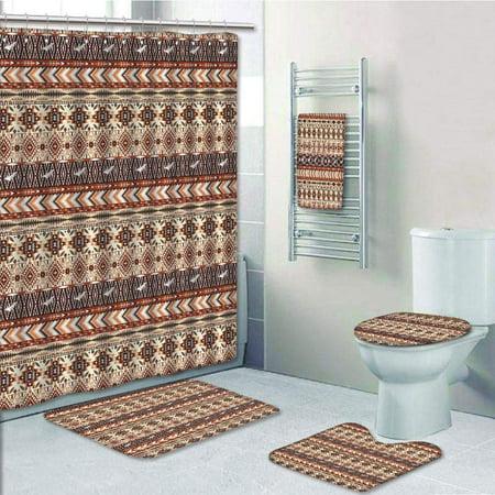 EREHome American Ethnic Culture Geometric Tribal Motif Artistic 5 Piece Bathroom Set Shower Curtain Bath Towel Bath Rug Contour Mat and Toilet Lid Cover - image 1 of 2