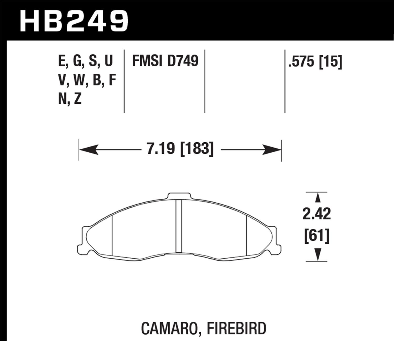 1998-2002 D749 Front Brake pad forChev:Camaro 1998-2002 CERAMIC ;Pont:Firebird