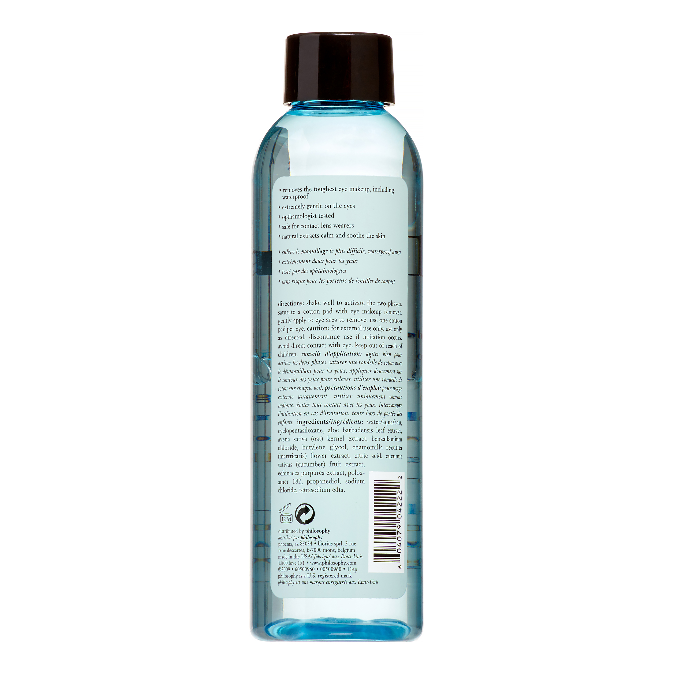 Just Release Me Dual-Phase Oil-Free Eye Makeup Remover by Philosophy for  Unisex - 6 oz Makeup Remover