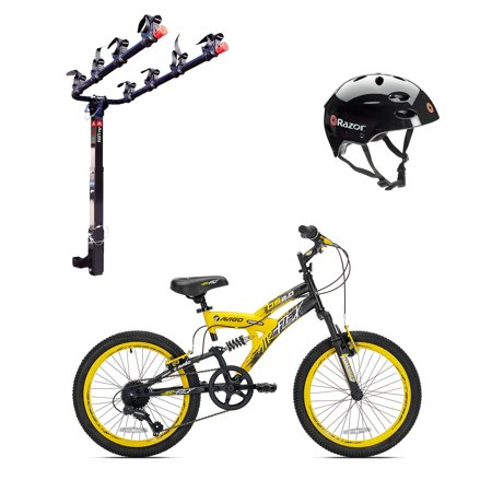 Kent Bikes Avigo Air Flex Steel 20 Inch Boys BMX Bike & 4 Bike Car Rack & (Craft Flex Bike)
