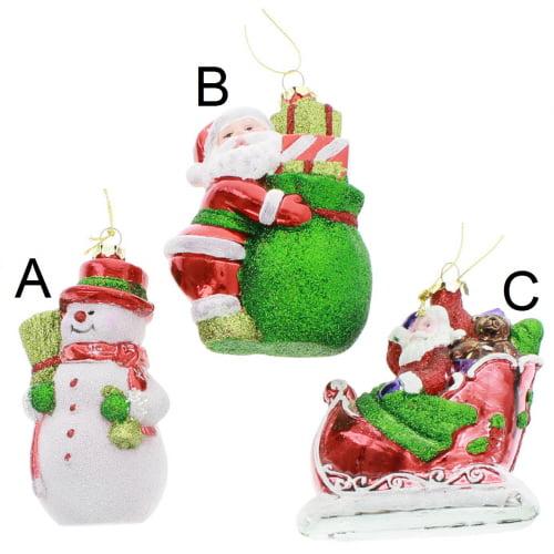 Glittered Snowman/Santa/Santa Sled Ornament, 3