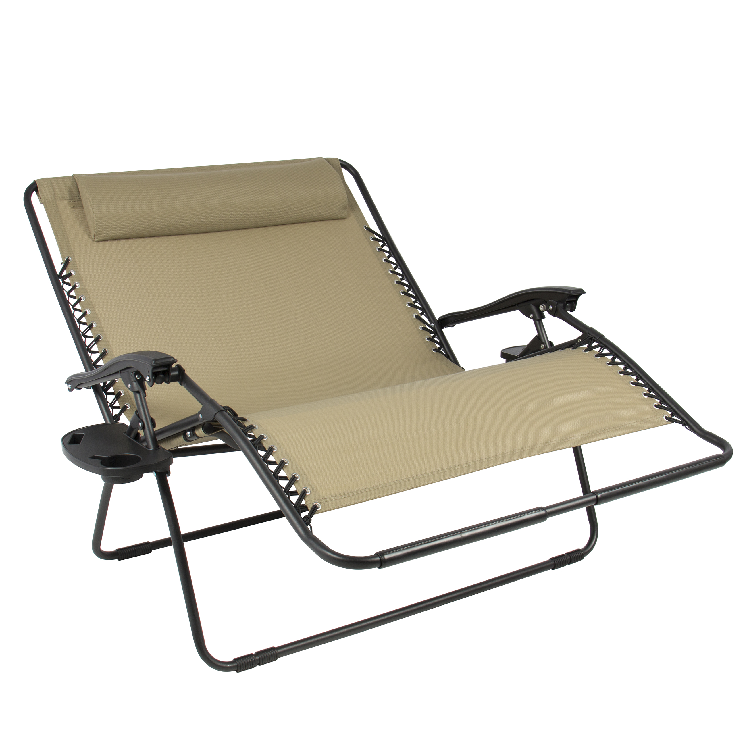 Best Choice Products 2 Person Double Wide Folding Zero Gravity Chair Patio Lounger W Cup Holders Beige