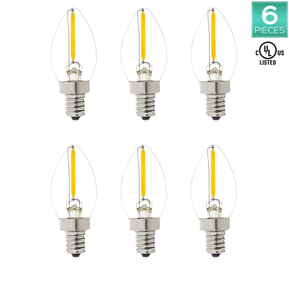 Pack of 6 C7 LED Night Light Bulb, Luxrite, 10W Equivalent, Warm White 2700K, Mini LED bulbs, 50 Lumens, E12 Candelabra Base, UL Listed