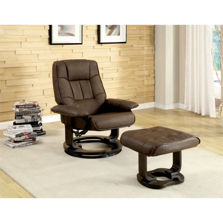 Furniture Of America Whitby Swivel Leather Lounge Chair