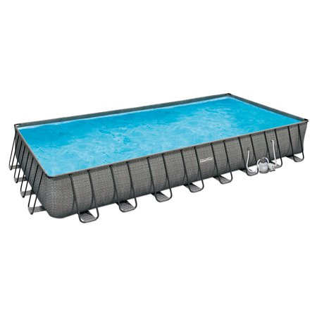 "Rectangle Swiss (Summer Waves 32' x 16' x 52"" Above Ground Rectangle Frame Pool Set, Dark Wicker )"