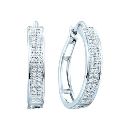 Cts Diamond Hoop (10K White Gold Diamond Stylish Hoop Earrings 1/5 Ctw. )