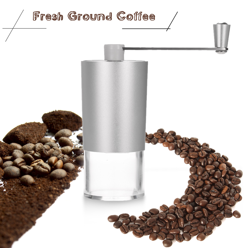 Anself Portable Manual Coffee Bean Grinder Mill with Brush and Spoon Kitchen Grinding Tool by