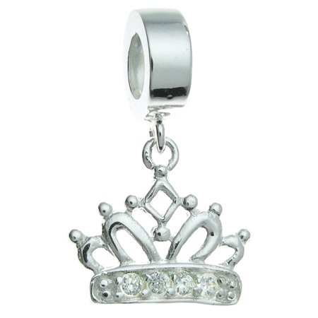 Crown Slide Charm - Queenberry Sterling Silver Crown Clear Cubic Zirconia European Style Dangle Bead Charm Fits Pandora