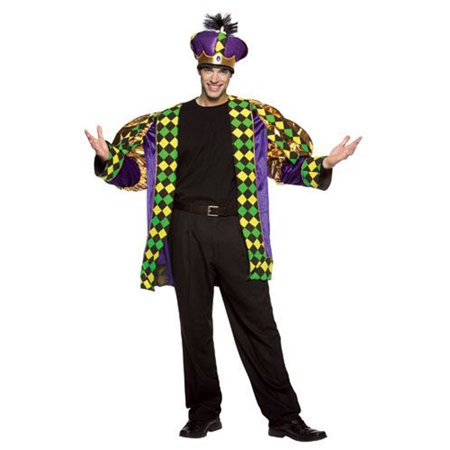 Mardi Gras King Men's Adult Halloween Costume, One Size, (48-52) (Crazy Mardi Gras Costumes)