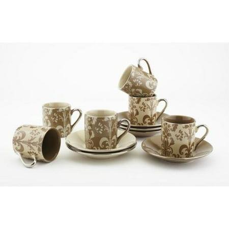 Yedi Houseware Porcelain Damask Demitasse Cups and Saucers, Mocha ...