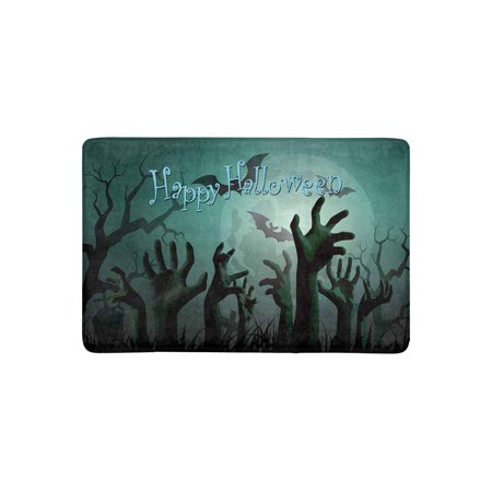 MKHERT Halloween Zombie Party with Bats and Full Moon Doormat Rug Home Decor Floor Mat Bath Mat 23.6x15.7 inch](Bts Halloween Party Full)