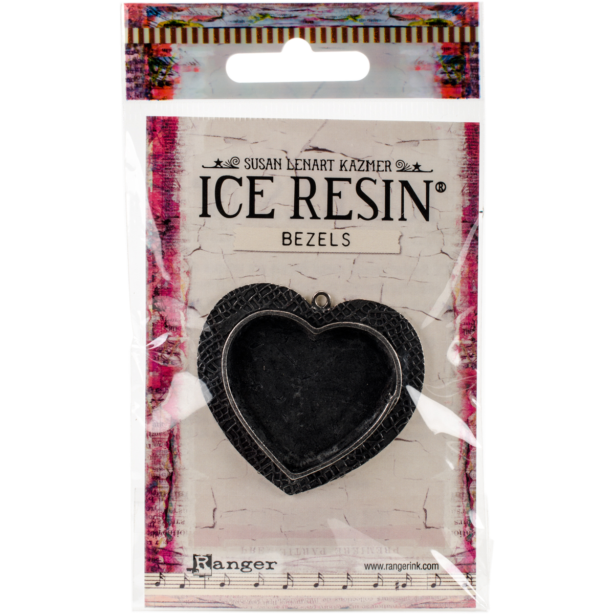 Ice Resin Milan Bezels Closed Back Heart Large-Antique Silver