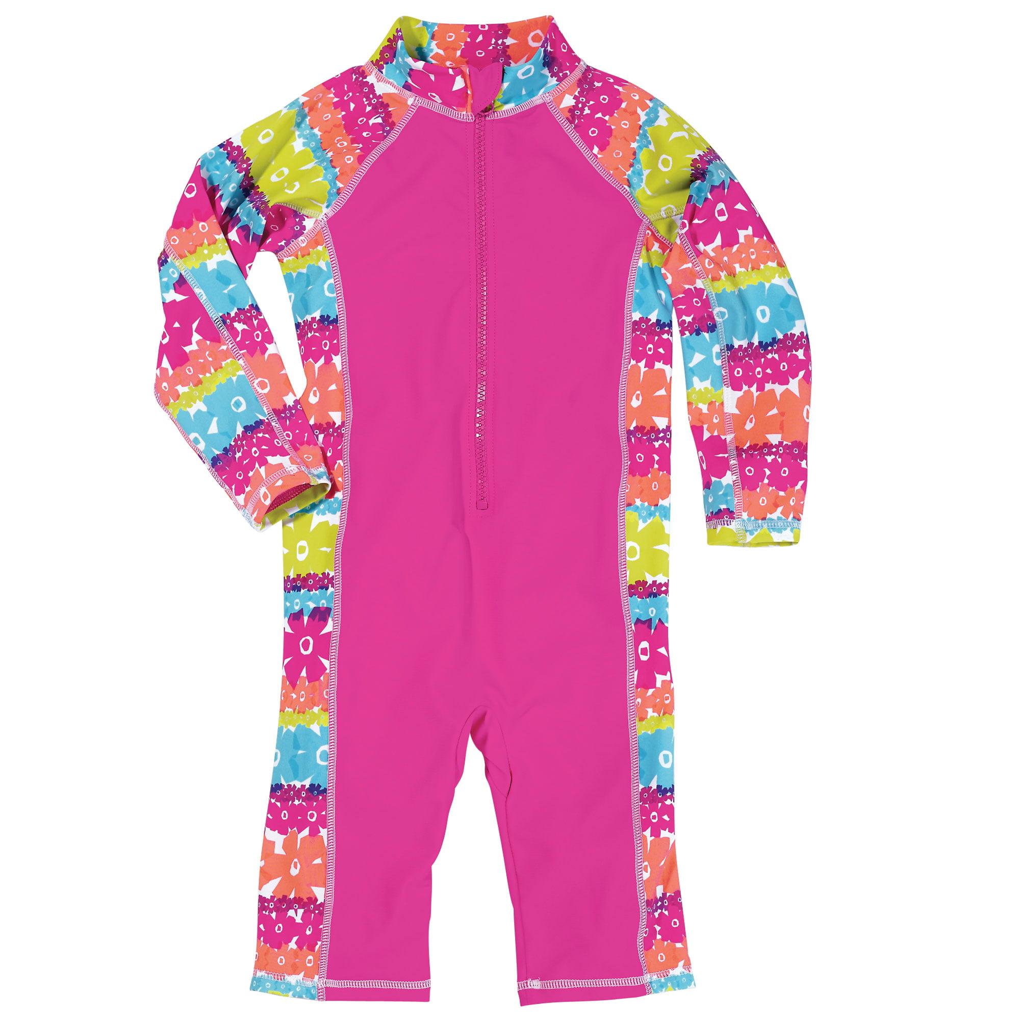 Sun Smarties Little Girl Surf Suit - Hot Pink Floral  - Maximum Sun Protection Swimsuit