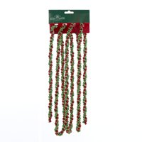 Club Pack of 12 Vibrantly Colored Twisted Bead Christmas Garlands - Unlit