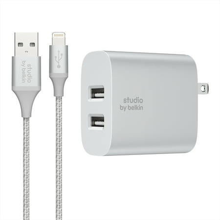 Studio by Belkin Dual Home Charger + Lightning to USB Cable, Silver, 5ft
