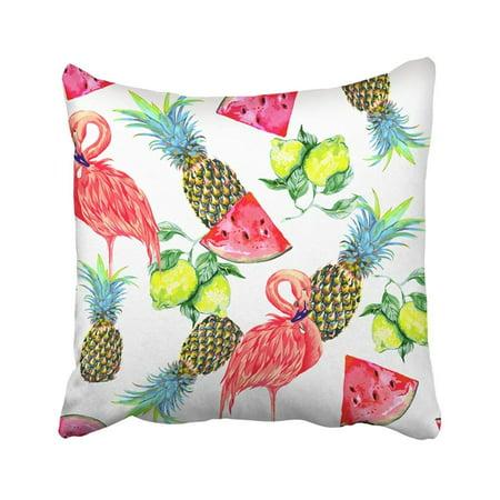BOSDECO Pink Flamingos Exotic Birds Watermelon Slice Lemon Pineapples Tropical Pattern Fresh Pillowcase Cover 16x16 inch - image 1 of 1