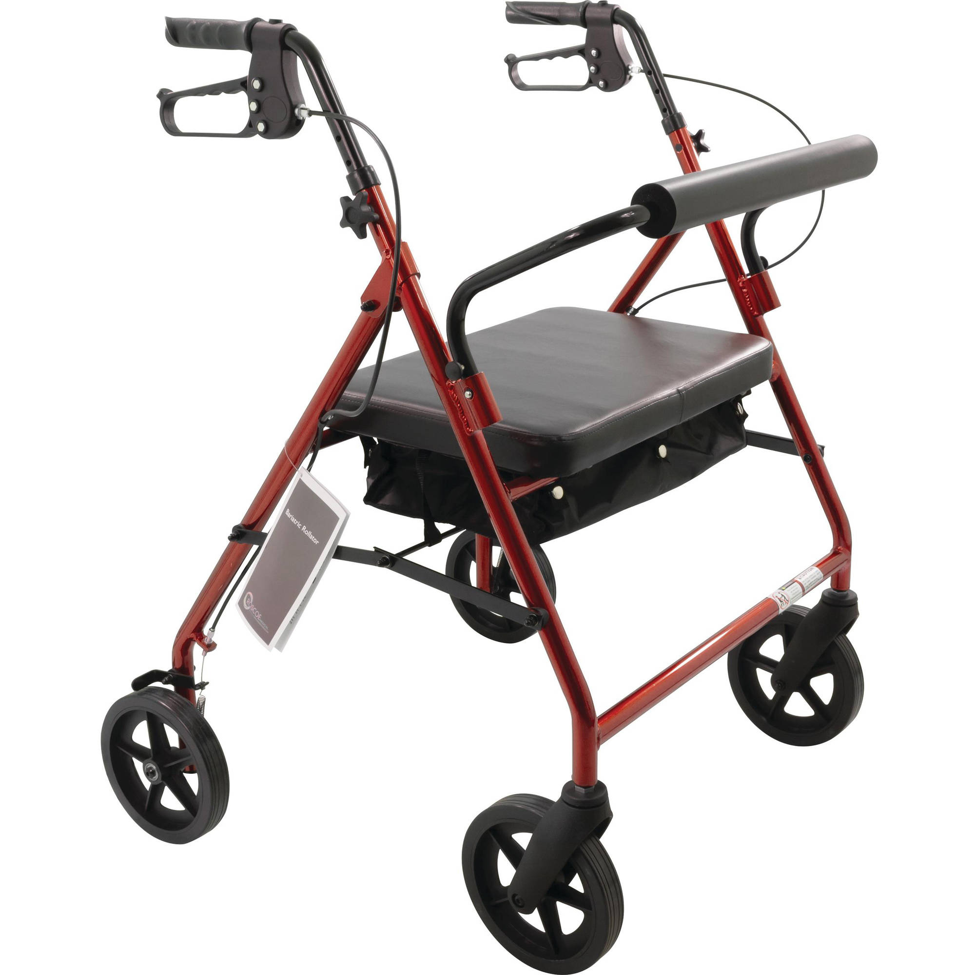 Bariatric Rollator with Padded Seat ''Burgundy, 28 W, 1 Count''