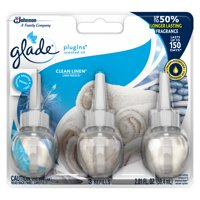 Glade PlugIns Refill 3 CT, Clean Linen, 2.01 FL. OZ. Total, Scented Oil Air Freshener