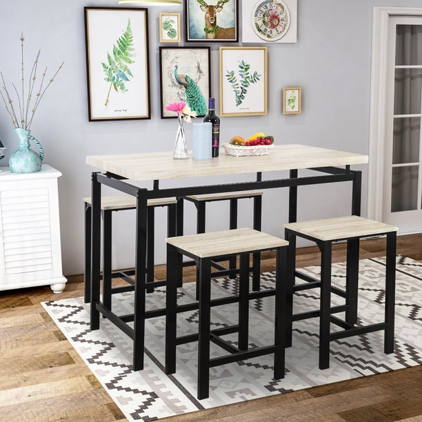 5 Piece Bar Table Set, Kitchen Counter Height Table with 4 Stools, Space Saving Pub Table Set for 4 Person with Metal Frame, Wood Dining Table & Chair Set for Breakfast Nook Pub Bistro, B945