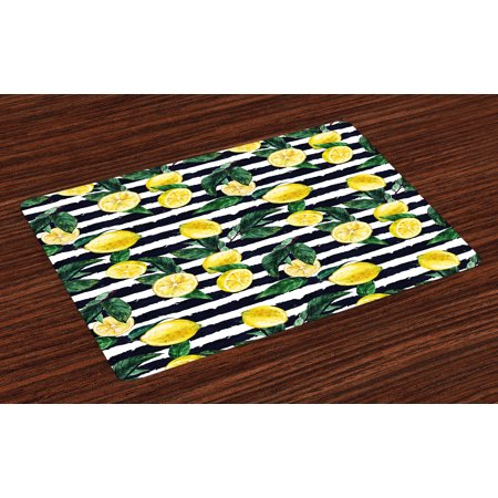 Modern Placemats Set of 4 Refreshing Lemons on Horizontal Striped Background Exotic Artwork, Washable Fabric Place Mats for Dining Room Kitchen Table Decor,Yellow Hunter Green Indigo, by Ambesonne