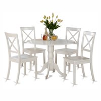 East West Furniture Dublin 5 Piece Drop Leaf Dining Table Set with Boston Wooden Seat Chairs
