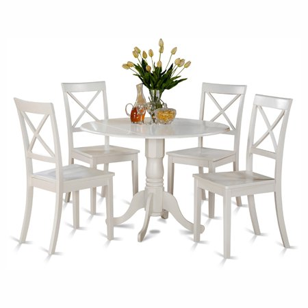 East West Furniture Dublin 5 Piece Drop Leaf Dining Table Set with Boston Wooden Seat Chairs ()
