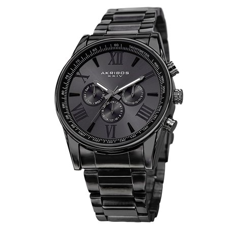 Men's Multifunction Tachymeter Stainless Steel Black Bracelet Watch