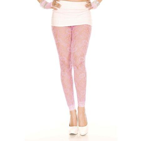 Floral lace sheer spandex leggings 35046-NPINK (80s Spandex Leggings)