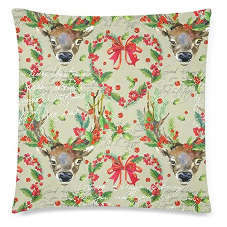 Flower Deer (ZKGK Love Cute Deer Flower for Couch Bed 18 x 18 Inches,Unique and Generic Valentine's Day Pillow Cover Shams)