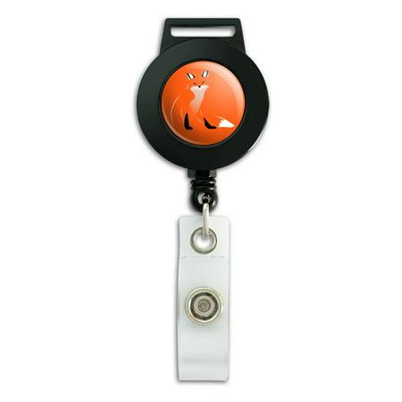 Stylish Red Foxy Fox Lanyard Retractable Reel Badge ID Card Holder