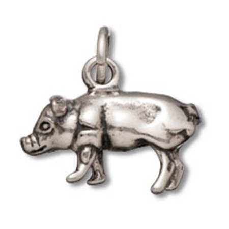 Sterling Silver Pig Charm Pendant on a Sterling Silver Carded Box Chain Necklace, 18