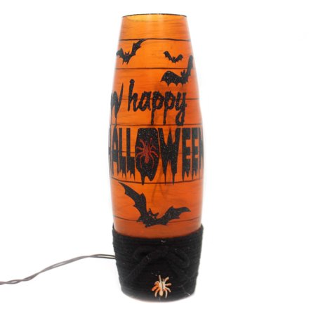 Stony Creek LIGHTED HALLOWEEN VASE W/ BATS Glass Electric