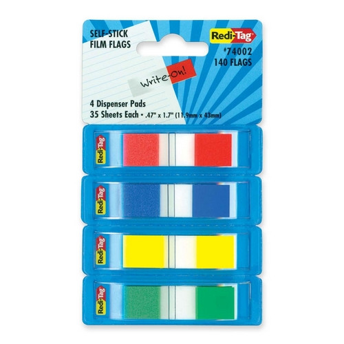REDI-TAG CORPORATION                               Film Flags, Self-stick, 140 Flags, 2/5''x1-7/10'', 4 per Pack, Assorted