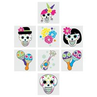 Day of the Dead Glow in the Dark Temporary Tattoos - 72 Count