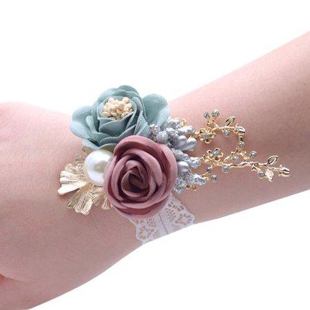 AkoaDa Wedding Bride Wrist Corsage Bridesmaid  Wrist Flower Corsage for Wedding Prom Party Homecoming ()