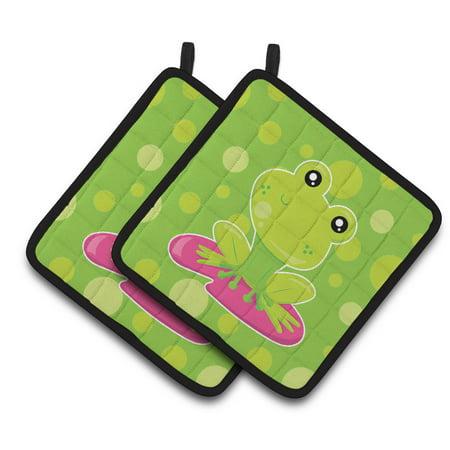 Caroline's Treasures Frog on Lily Pad Green Polkadots Pair of Pot Holders Green Frog Pot