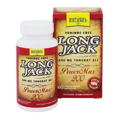 Natural Balance Yohimbe Free Long Jack PowerMax 200 Vegetarian Supplement Capsules, 60