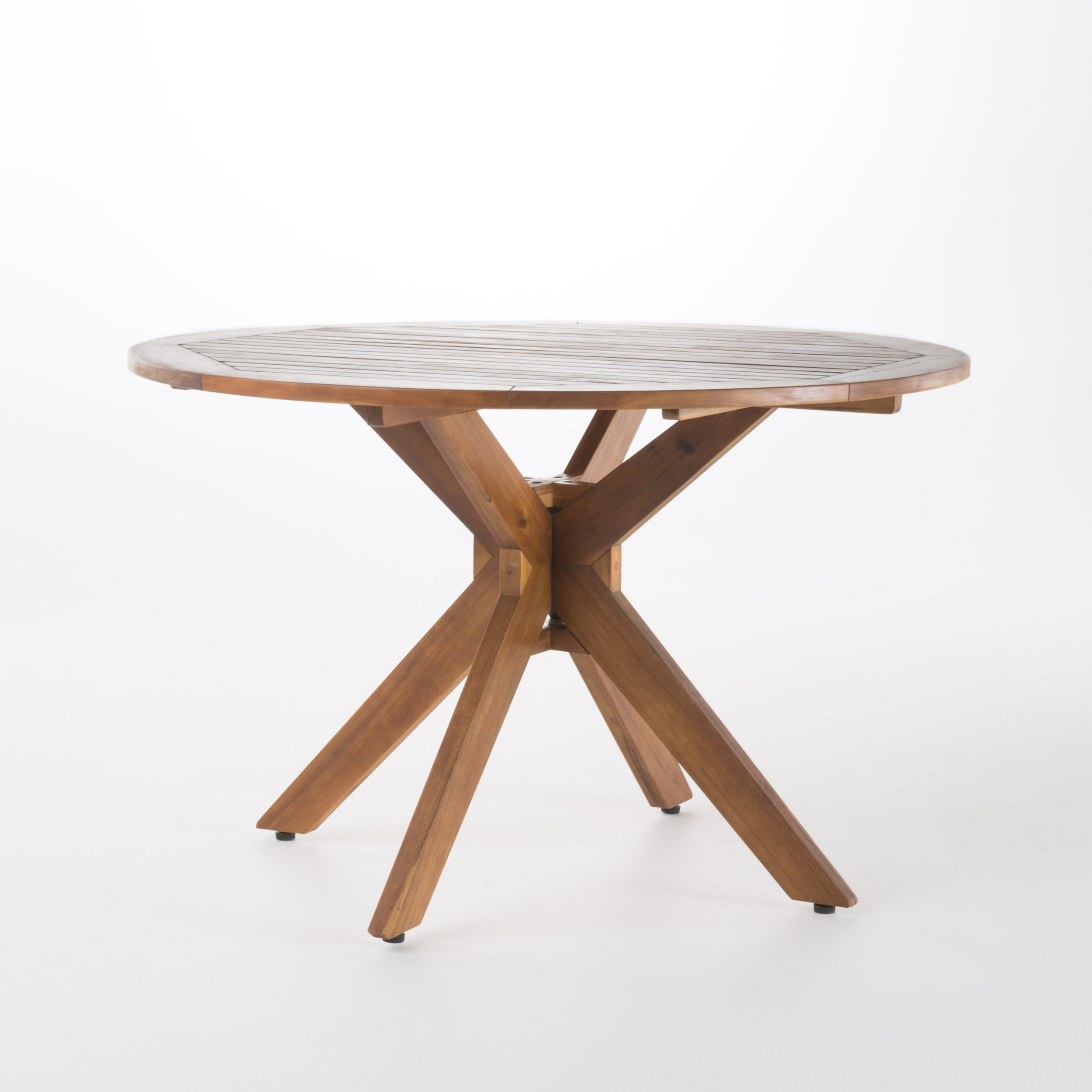 Stanford Outdoor Acacia Wood Round Dining Table, Teak Finish by GDF Studio