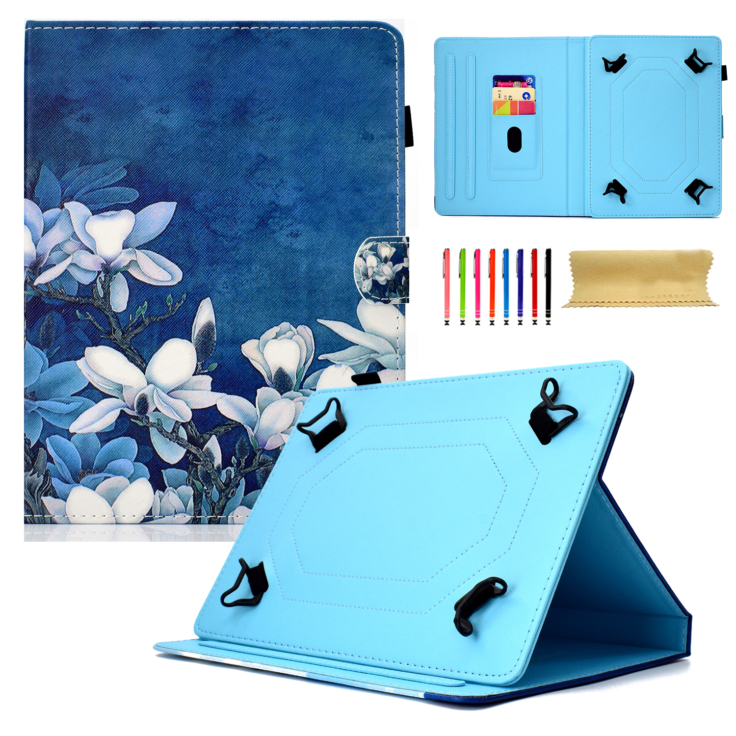 """Goodest Universal 8 Inch Tablet Case, Slim Fit Folio Protective Stand Wallet Cover for 7.5-8.5"""" Tablet 8"""" Touchscreen/iPad Mini/Galaxy Tab A/Fire HD 8/RCA/Chrome Nextbook iView, Flower"""